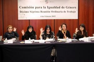 Senadoras levantado la mano en la reunión de la Comisión para la Igualdad de Género