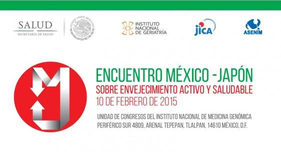 """Logotipo de los organizadores y el texto """"Encuentro México-Japón sobre Envejecimiento Activo y Saludable"""""""