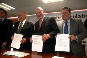 De izquierda a derecha Carlos Padilla Becerra, Manuel Mondragón y Kalb, Jesús Mena Campos
