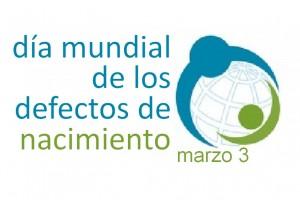 """Logotipo con ilustracion de dos personas abrazando e mundo y el texto """"Día Mundial de los Defectos de Nacimiento"""""""