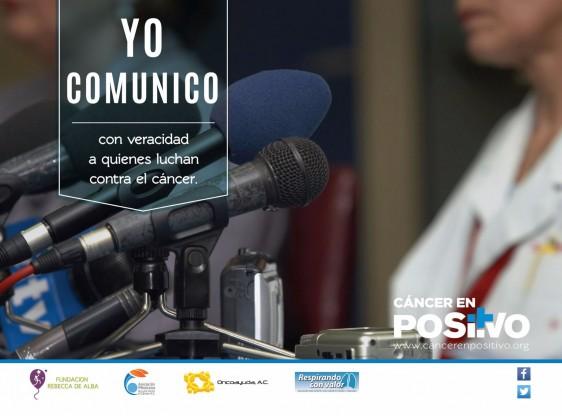 """Imagen de micrófonos con el texto """"YO COMUNICO  converacidad a quienes luchan contra el cáncer"""""""