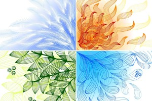 Ilustración en cuatro cuadros con Agua, Aire, Fuego y Tierra