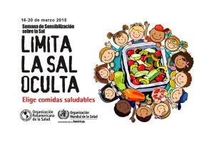 """Ilustración de niños alrededor de un plato con verduras al lado el texto """"LIMITA LA SAL OCULTA, ELIGE COMIDAS SALUDABLES"""""""