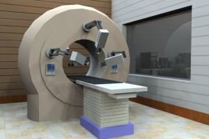 Ilustración 3D de equipo de radioterapía