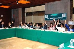 Diputados levantando la mano para votar