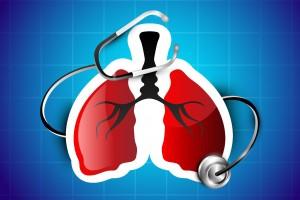 Ilustración de un pulmón en rojo con un estetoscopio negro en u fondo azul