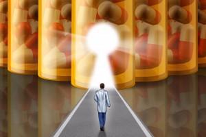 Doctor caminando hacia una luz en un túnel de medicamentos