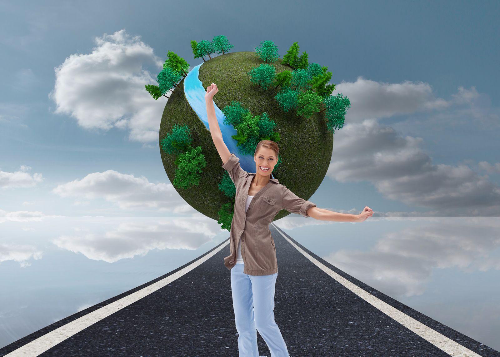 Mujer en un camino hacia un mundo