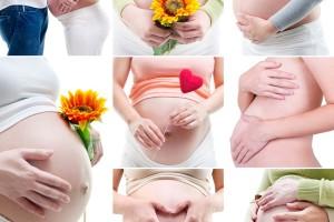 Mosaico de imagenes de mujeres embarazadas