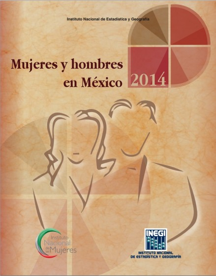 """Portada color beige con ilustración de una mujer y un hombre con el título """"Mujeres y hombres en México 2014"""""""