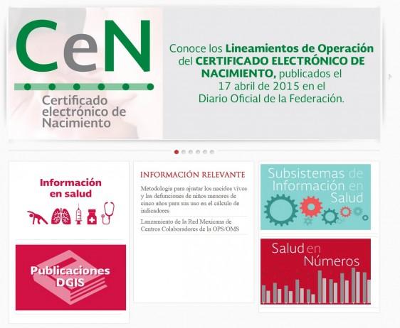 Captura de pantalla con el contenido del sitio www.dgis.salud.gob.mx