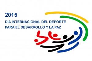 """Texto """"Día Internacional del Deporte para el Desarrollo y la Paz"""" con una ilustración de personas haciendo un deporte"""