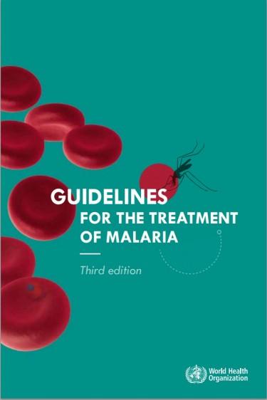 """Portada azulaqua con globulos rojos y el texto """"Guidelines for the treatment of malaria"""""""
