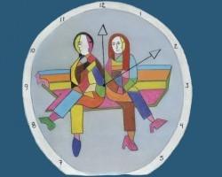 """Portada en azul del Libro """"Uso del tiempo y trabajo no remunerado en México"""", con ilustración de una caratula de reloj con un hombre y una mujer sentados en el interior"""