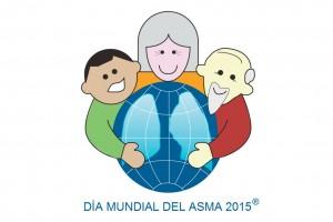 """Ilustración de personas abrazando el mundo y el texto """"Día Mundial del Asma"""""""