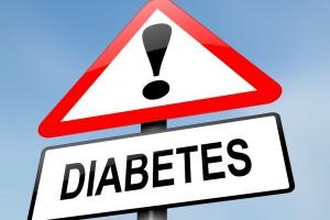 Señal de advertencia de tránsito con la palabra diabetes