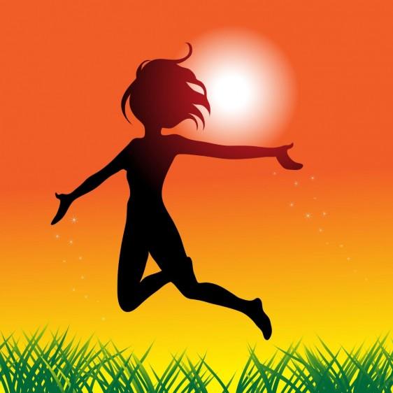 Ilustración de una niña saltando en un atardecer