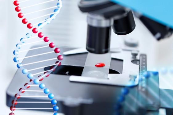 Acercamiento a un microscopio y una ilustración de ADN