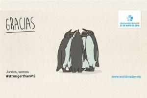 """Ilustración de pinguinos juntos y el texto """"GRACIAS"""""""