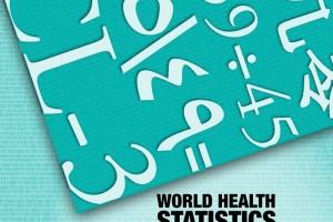 """Portada color turquesa cpn número en diferentes alfabetos con el texto """"World health statistics 2015"""""""