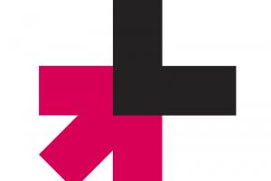"""Logotipo campaña HeForShe una flecha rosa se encuentra con una letra """"L"""" negra"""