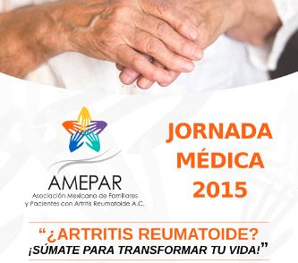 """Ilustración de una persona tomando la mano de otracon el texto """"Jornada Médica ¿Artritis Reumatoide? ¡Súmate para transformar tu vida!"""""""