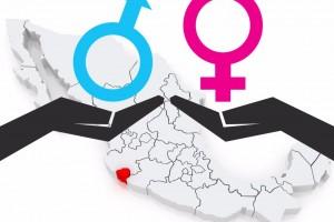 Ilustración con el Estado de Columa y dos manos sostenindo iconos de sexo femenino y sexo masculino