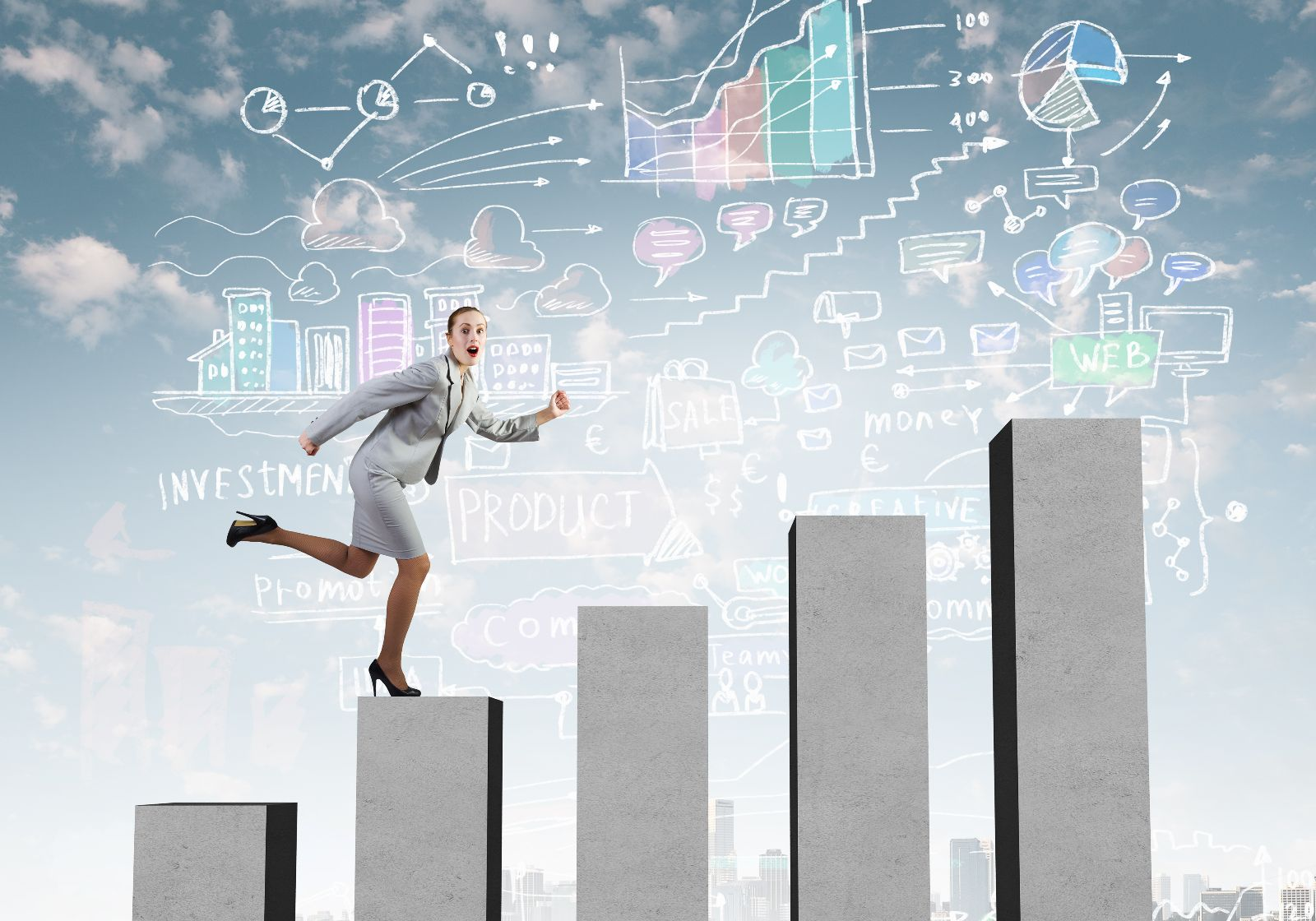 Mujer sibiendo en una ilustración de gráfica de barras ascendente