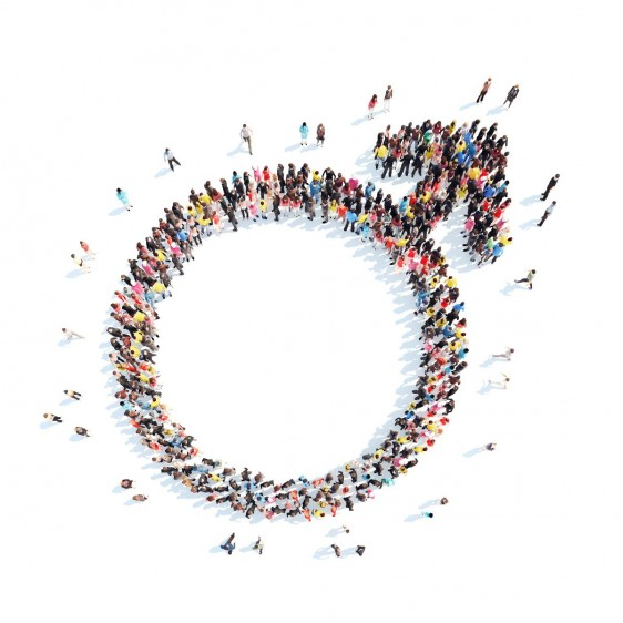 Grupo de personas formado el símbolo de sexo masculino