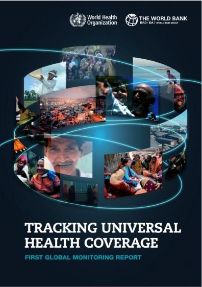 """Ilusración con imagenes de persnas el en emundo y el texto """"Tracking universal health coverage: First global monitoring report FIRST GLOBAL MONITORING REPORT"""""""