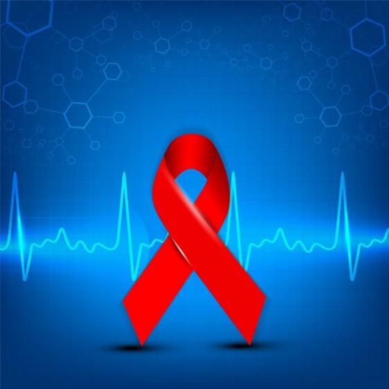 Fondo azul con listón rojo y un electrocardiograma