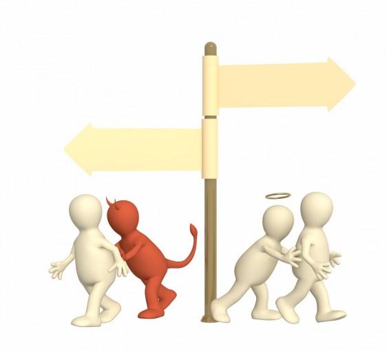 letrero apuntando a dos direcciones con un diablito llevando a una persona en una y en la contraria un angelito lleva a otra, ilustración del concepto de conflicto