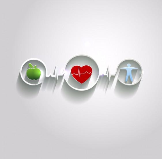 manzana, corazón y cuerpo humano encerrados en circulos conectados por ritmos cardíacos