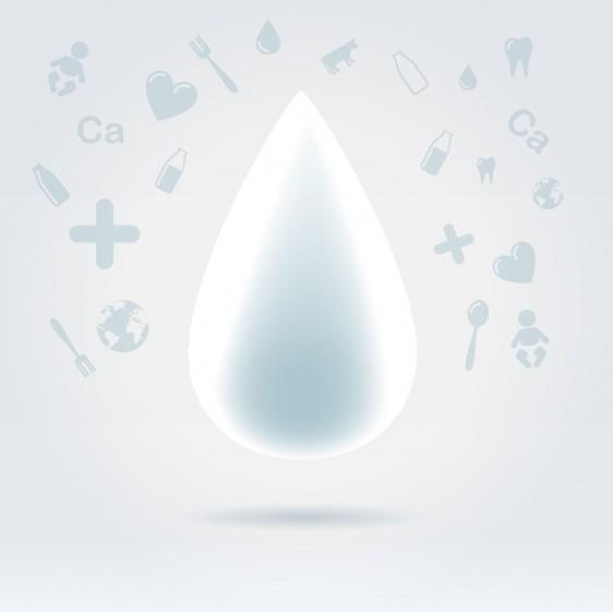 Gota de leche con los iconos de salud