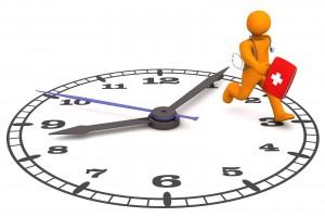 Ilustracipon de un médico corriendo encima de un reloj