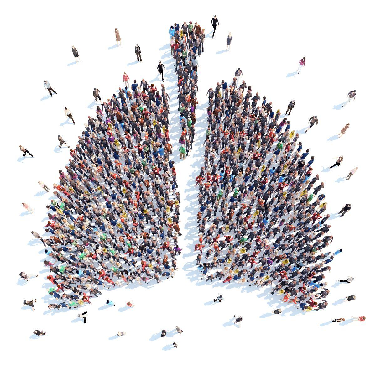 Personas en forma de un pulmón humano