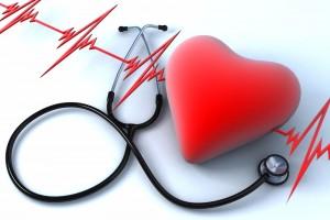 Ilustración de un electrocardiograma, un corazón y un estetoscopio