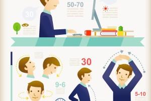 Algunas recomendaciones y estiramientos simples para practicar una postura sana cuando utilizamos la tecnología, para quienes pasan sentados frente a un escritorio todo el día, o bien, el caminar con tacones.
