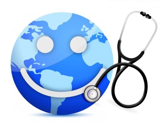 Un mundo con una sonrisa al lado de un estetoscopio