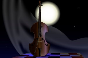 night, moon, abstract tree and stringed instrument