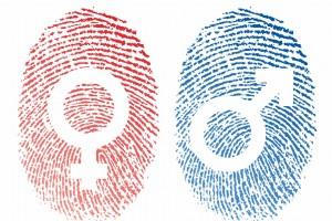 Ilustración de dos huellas digitales roja con símbolo de femenino y azul con símbolo de masculino