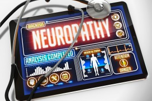Neuropathy - Diagnosis on the Display of Medical Tablet and a Black Stethoscope on White Background.
