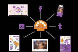 """Ilustración con logotipo de la campaña """"Mira por tus ojos"""" y redes sociales"""