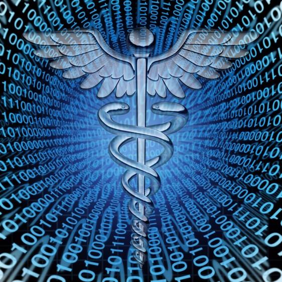 icono de medicina en un túnel digital