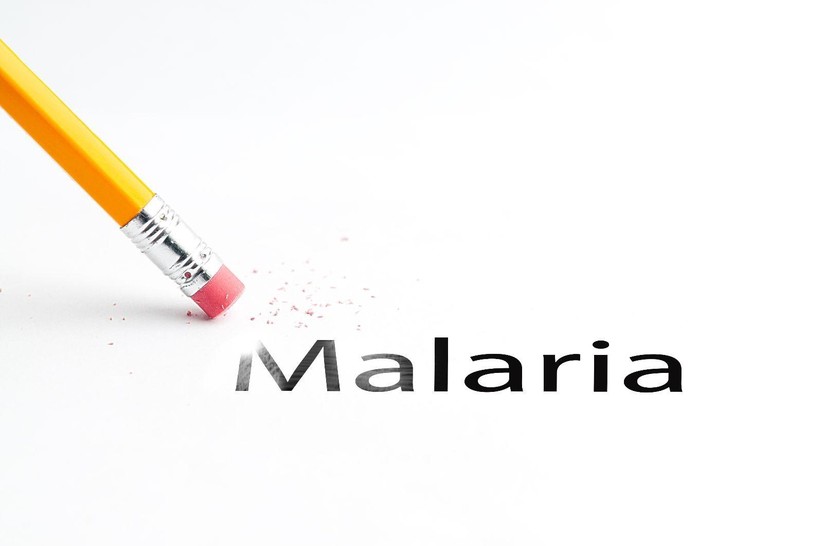 Acercamiento a un lápiz borrando la palabra MALARIA