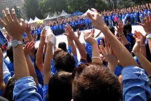 """Más de tres mil personas se dieron cita este sábado 7 de noviembre en el Monumento a la Revolución para formar el """"Círculo Azul"""" que representa el símbolo universal para la Diabetes y significa la vida, la salud y la unidad"""