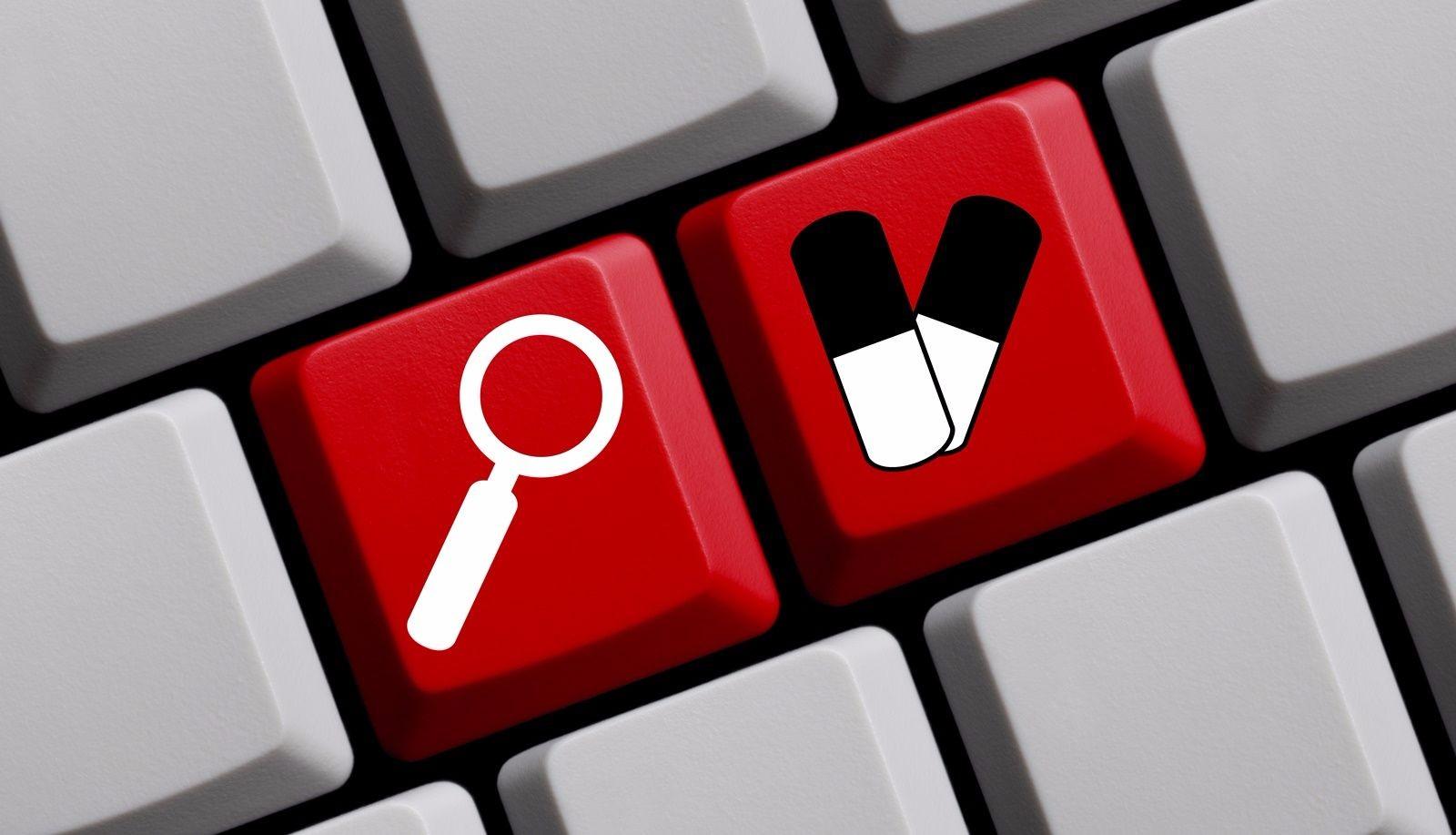 Teclado con icono de buscar y medicamentos