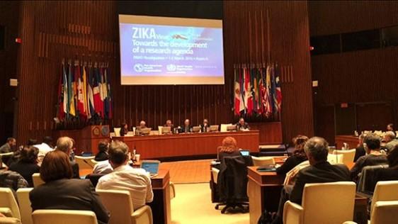 Investigadores internacionales, reunión de Zika en la OPS/OMS, Washington, DC.
