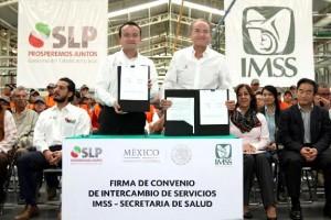 San Luis Potosí es la cuarta entidad del país en firmar el Convenio Específico de Intercambio de Servicios IMSS-Salud, para mejorar la calidad del servicio de más de dos millones de derechohabientes.