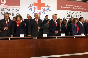 También asistieron el presidente nacional de CRM, Fernando Suinaga Cárdenas, y el delegado de esa institución en el Estado de México, José Miguel Bejos, así como autoridades de Protección Civil, del Poder Judicial y del Voluntariado de la CRM de la entidad, entre otros.